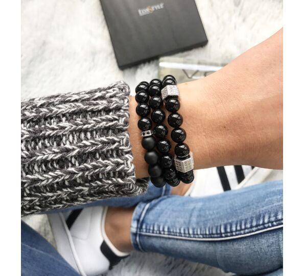 Matte onyx silver luxury bracelets