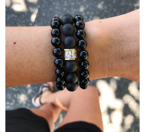 Matte onyx gold luxury bracelets