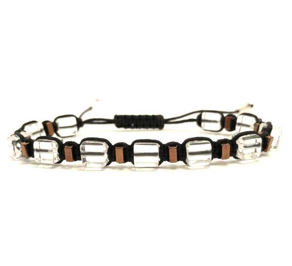 Rhinestone and bronze cube cord bracelet