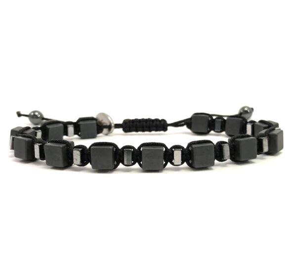Matte hematit and silver cube cord bracelet