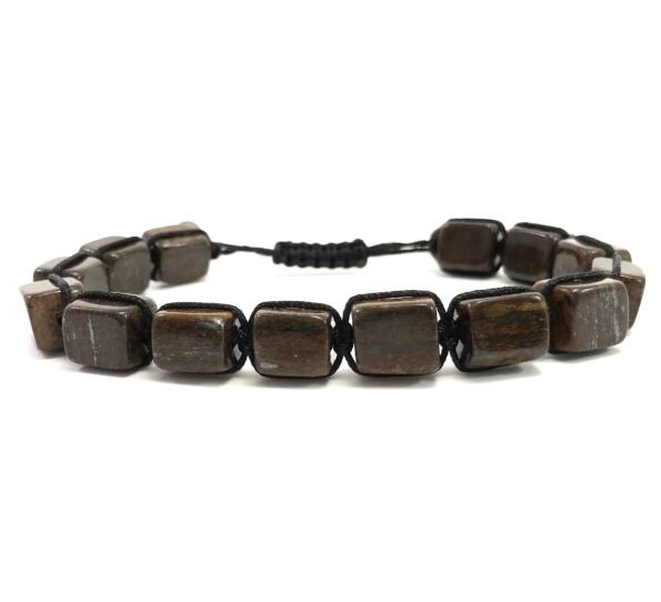 Bronzit cube cord bracelet