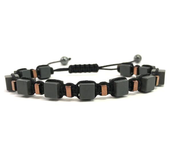 Matt hematit and bronze cube cord bracelet