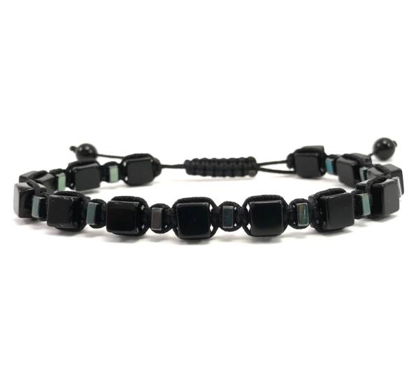 Onyx and green hematite cube cord bracelet