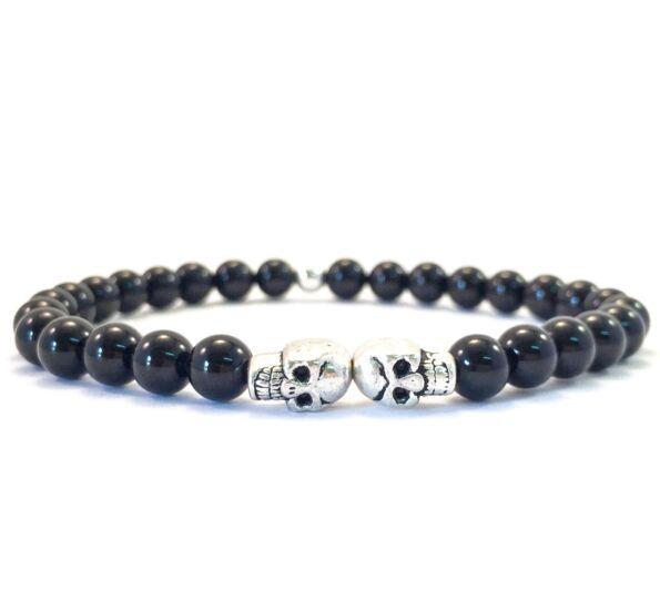 Onyx mini skull bracelet