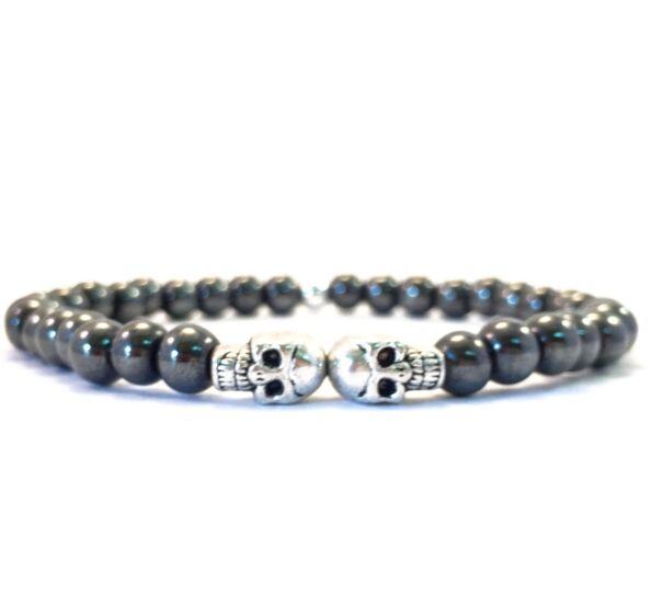 Hematite mini skull bracelet
