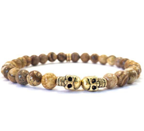 Jáspis arany mini koponyás karkötő FF