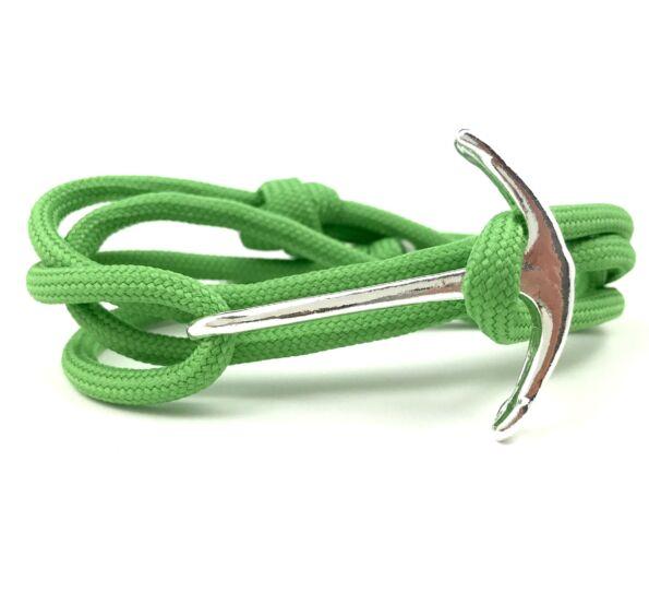 Paracord ezüst horgonyos karkötő zöld
