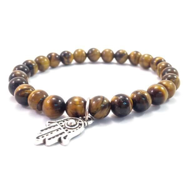 Tiger's eye bracelet with hamsa pendant