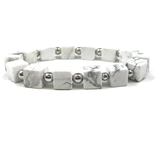 Howlit kocka ezüst gyöngy karkötő