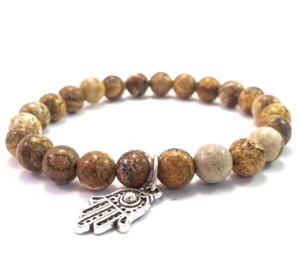 Jaspis bracelet with hamsa pendant