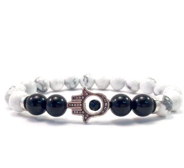 Howlite and onyx hamsa bracelet