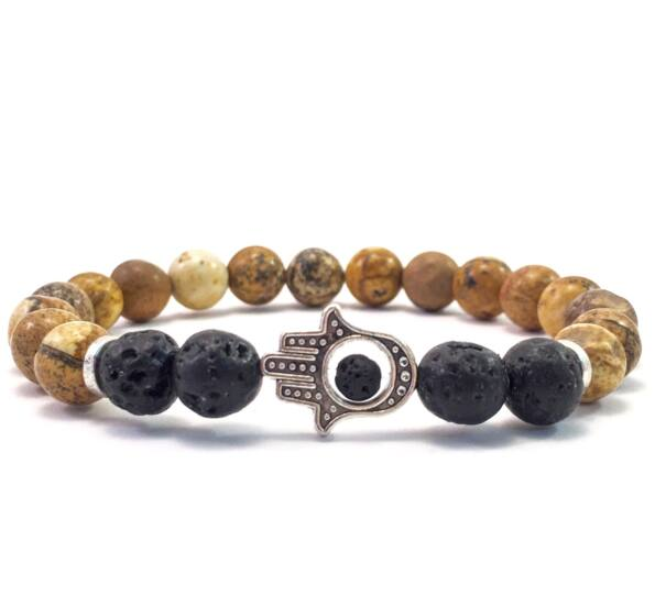 Jaspis and lava hamsa bracelet