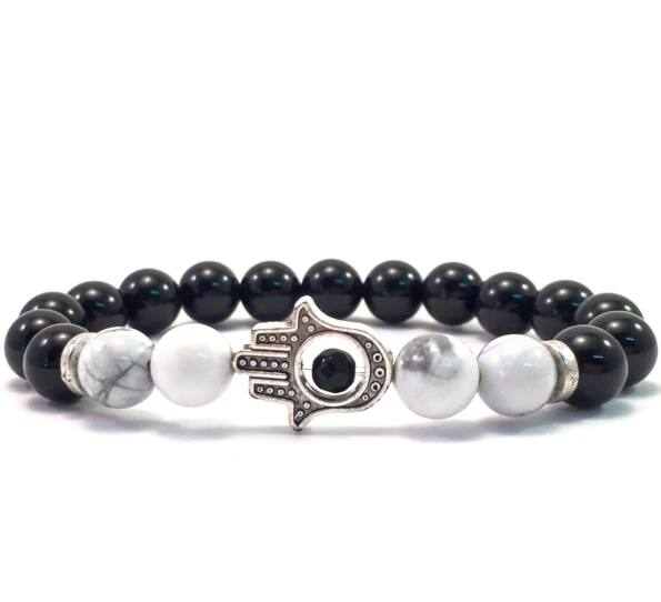 Onyx and howlite hamsa bracelet