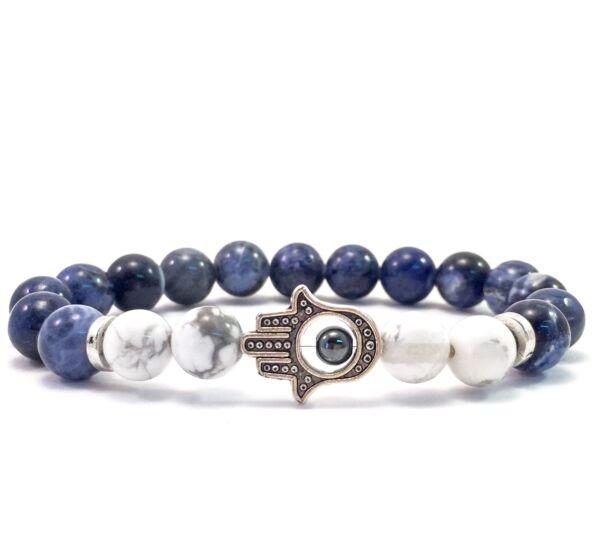 Sodalite and howlite hamsa bracelet