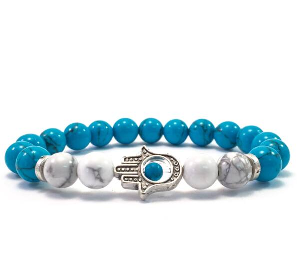 Turquoise and howlite hamsa bracelet