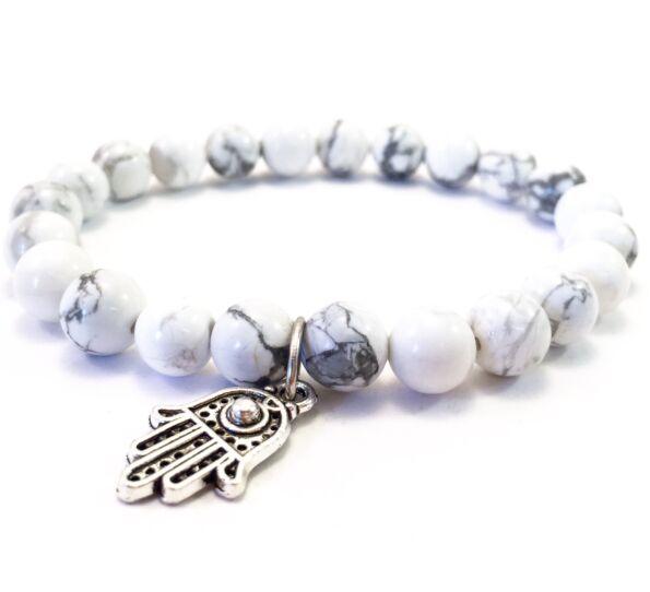 Howlite bracelet with hamsa pendant