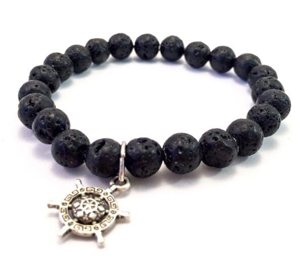 Lava bracelet with ship rudder pendant