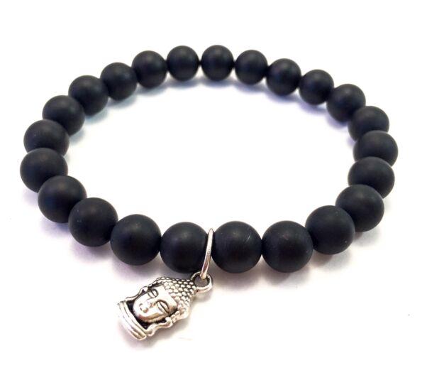 Matte onyx bracelet with buddha pendant