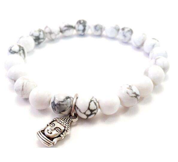 Howlite bracelet with buddha pendant