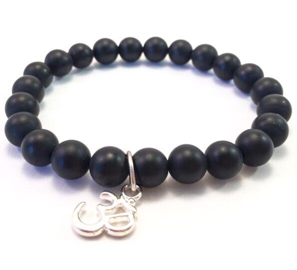 Matte onyx bracelet with Ohm pendant