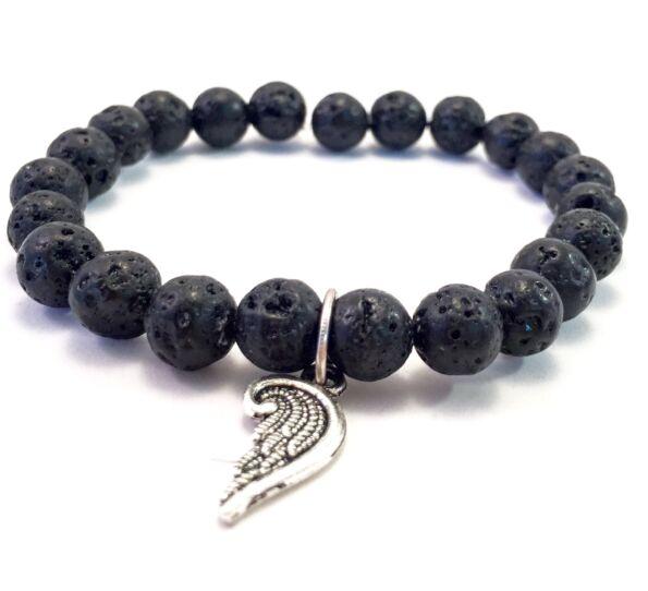 Lava bracelet with angel pendant