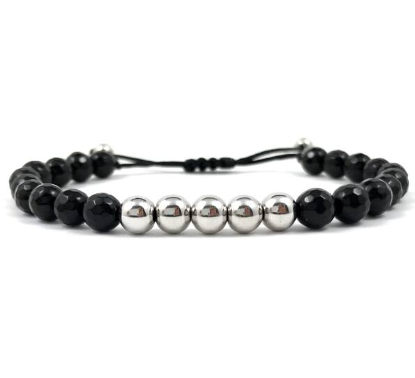 Faceted onyx and silver pearl cord bracelet