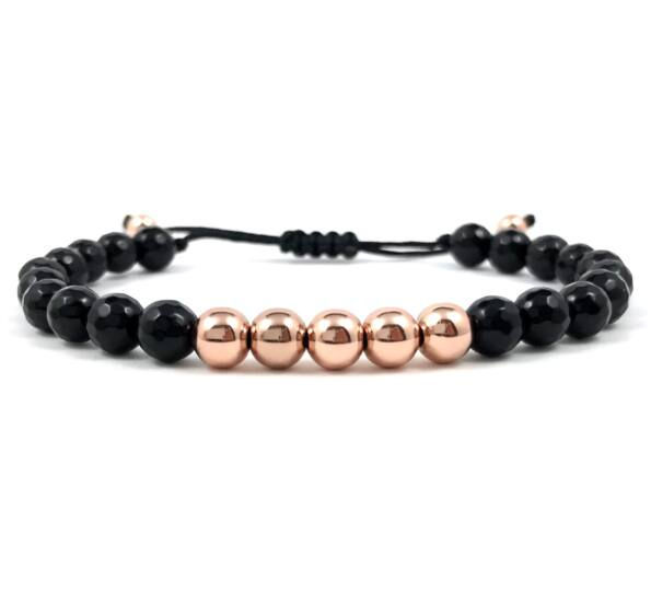 Faceted onyx and rosegold pearl cord bracelet