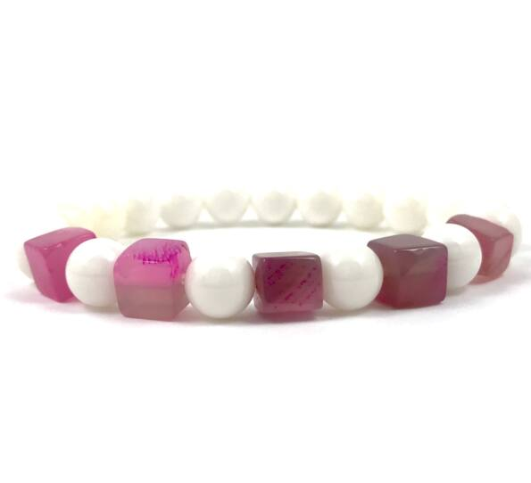 Nacre and pink agate cube bracelet