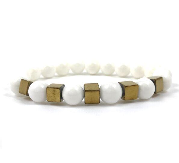 Nacre gold cube bracelet