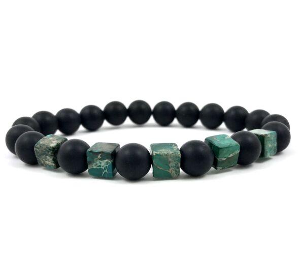 Matte onyx and regalite bracelet
