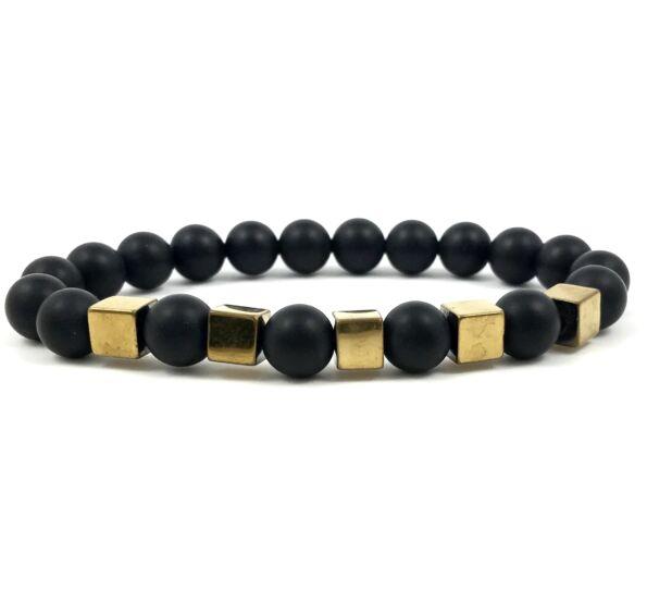 Matte onyx gold cube bracelet