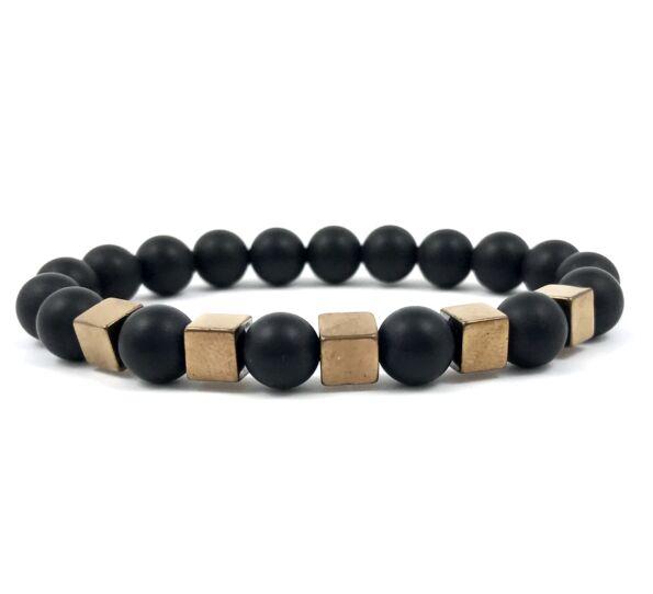 Matte onyx and bronze cube bracelet