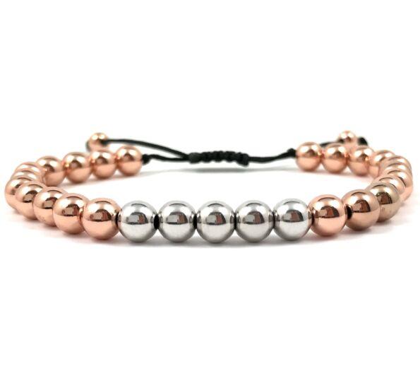 Rozé gyöngy és ezüst gyöngy cord karkötő