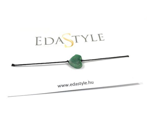 Zöld kristály szíves zsineg karkötő