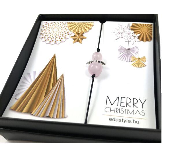 Karácsonyi rózsakvarc angyalkás karkötő