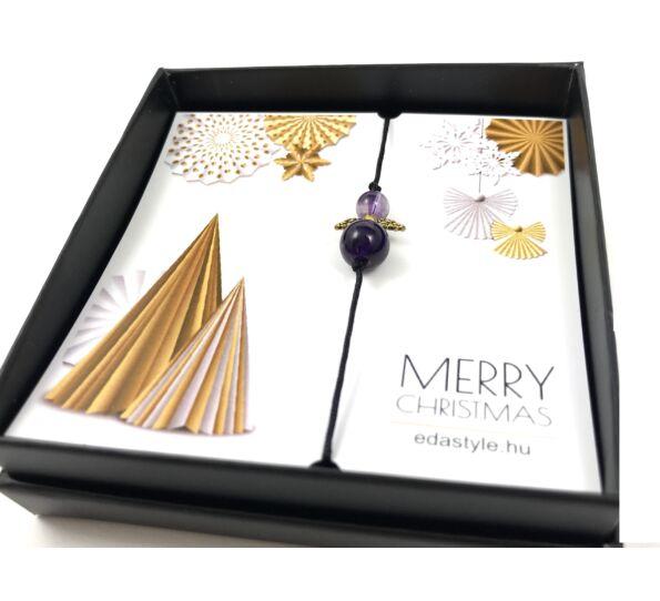 Karácsonyi ametiszt angyalkás karkötő ( arany )