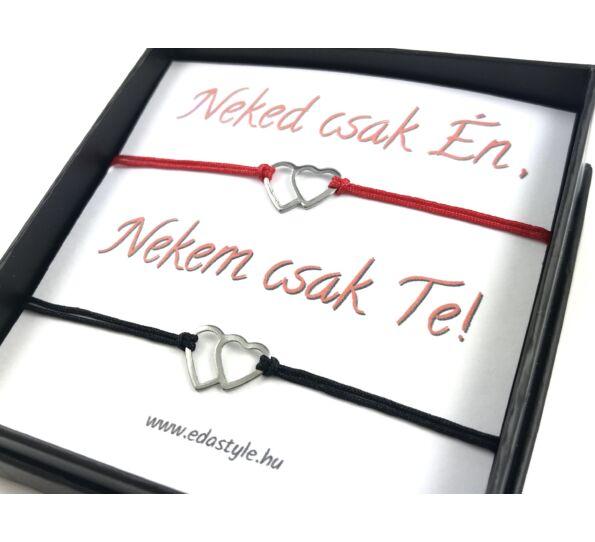 Dupla ezüst szíves piros-fekete zsineg karkötő szerelmeseknek ( Neked csak Én, Nekem csak Te! )