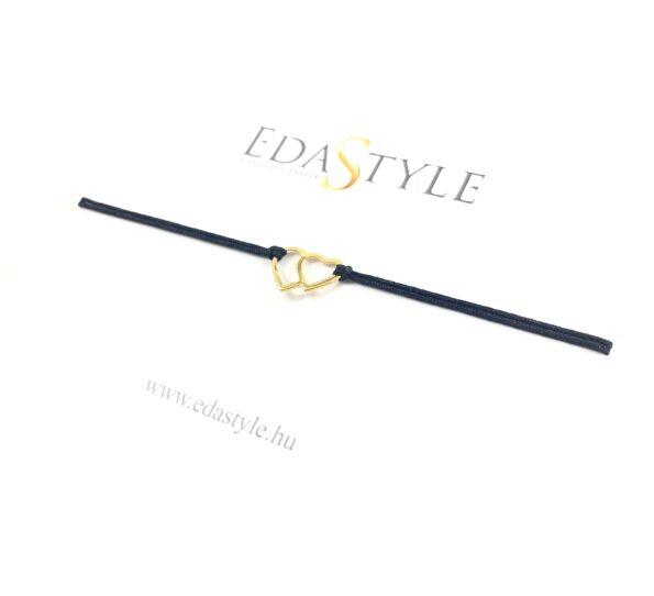 Dupla arany szíves fekete zsineg karkötő