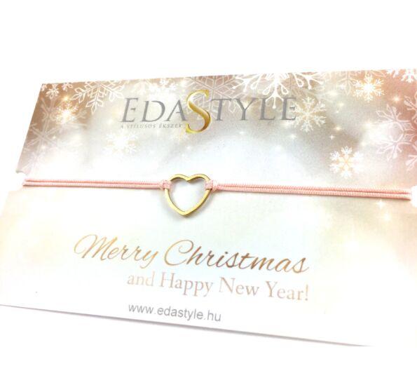 Karácsonyi arany szíves barack színű zsineg karkötő