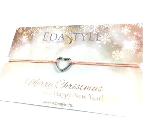 Karácsonyi ezüst szíves barack színű zsineg karkötő
