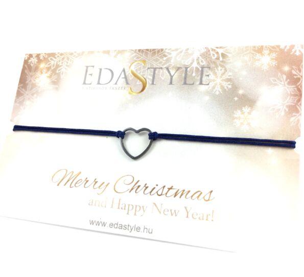 Karácsonyi ezüst szíves kék zsineg karkötő