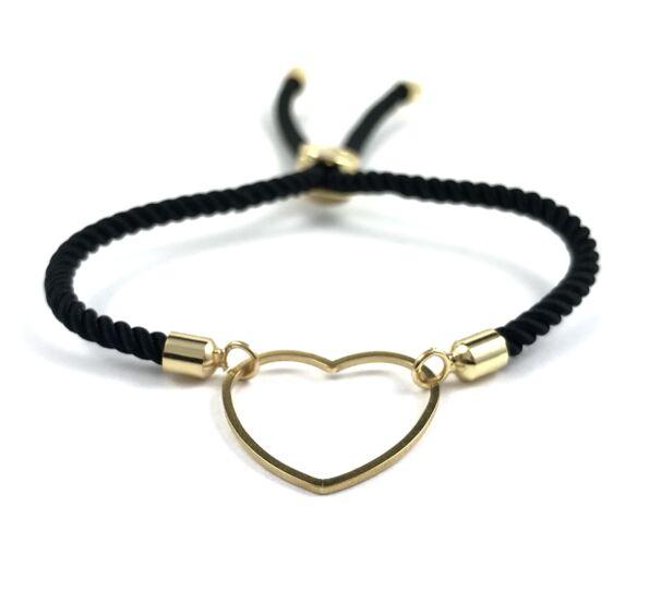 Arany szíves fekete sodrott zsinór karkötő