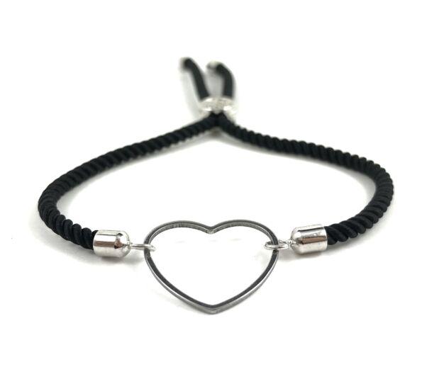 Silver heart black bracelet