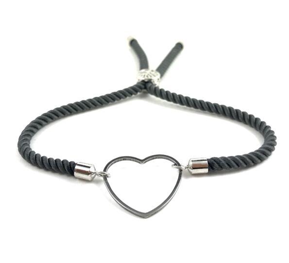 Silver heart grey bracelet