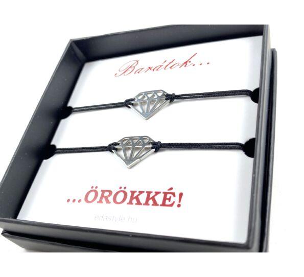 Barátság karkötő ezüst színű gyémánt jellel fekete