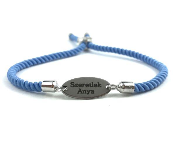 Gravírozott acél medálos kék sodrott zsineg karkötő