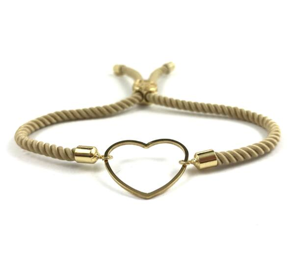 Gold heart brown bracelet