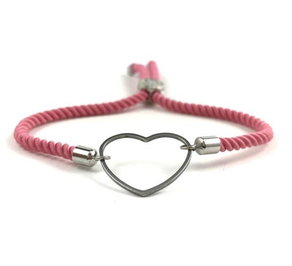 Ezüst szíves rózsaszín sodrott zsinór karkötő