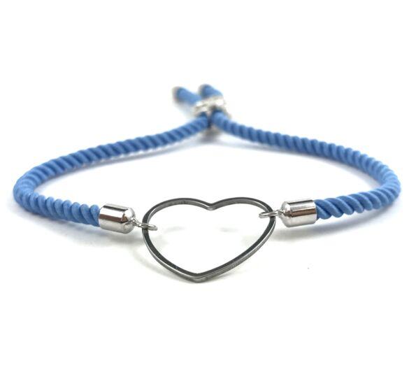 Silver heart blue bracelet