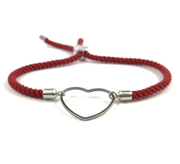 Silver heart red bracelet